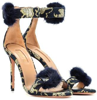 Aquazzura Exclusive to mytheresa.com – Sinatra 105 fur-trimmed brocade sandals