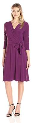 NY Collection Women's B-Slim 3/4 Sleeve Solid Ity Dress With Tie At Waist