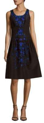 Carolina Herrera Floral Silk Knee-Length Dress
