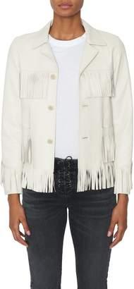 Nili Lotan Frida White Leather Fringe Jacket