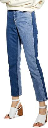 Topshop High Waist Straight Leg Moto Jeans