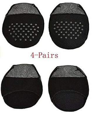 Xugq66 4Pairs Women's No Show Liner Socks Sheer Toe Cover Cushion Non-Skid Sole Forefoot Pads