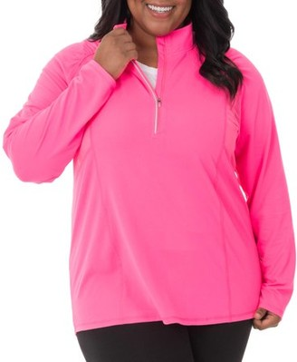 Fruit of the Loom Fit for Me by Women's Plus-Size Active Mesh Zip Mock