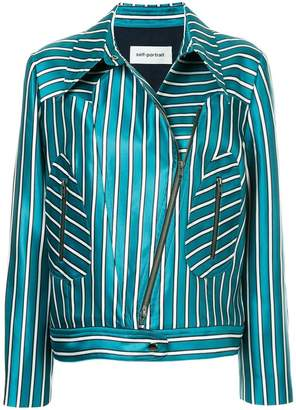 Self-Portrait striped biker jacket