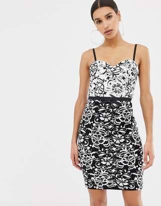 Lipsy monochrome lace midi dress