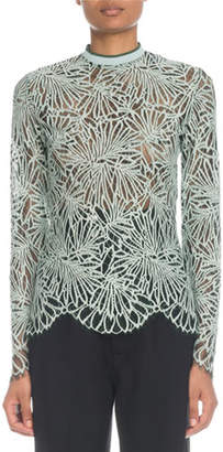 Proenza Schouler Mock-Neck Long-Sleeve Printed Lace Blouse