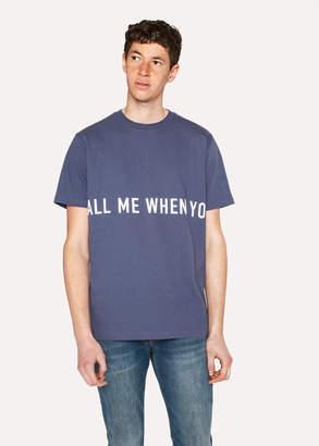 Paul Smith Ps R.E.M. + Slate Blue 'Call Me' Print T-Shirt