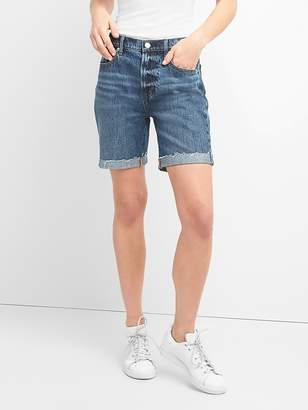 "Gap High Rise 7"" Denim Shorts with Raw Hem"