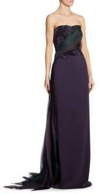 Pamella Roland Strapless Bustier Gown