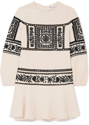 RED Valentino Embroidered Crepe Mini Dress - Cream