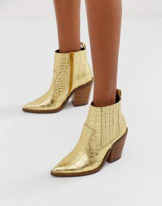 Asos Design DESIGN Elliot western boots in croc