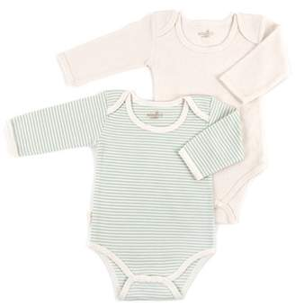 Tadpoles S/2 long slv lap shoulder onesie Layette 6-9 mths