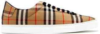 Burberry Albert House Check Canvas Trainers - Mens - Tan Multi