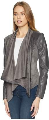 Blank NYC Faux Suede Drape Front Jacket in Charcoal Grey Women's Coat