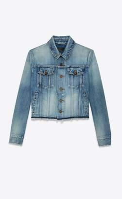 Saint Laurent Raw Hem Denim Jacket