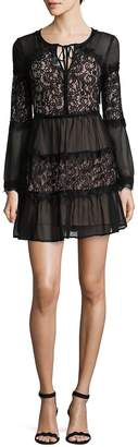 Willow & Clay Women's Paneled Sheer Lace Mini Dress