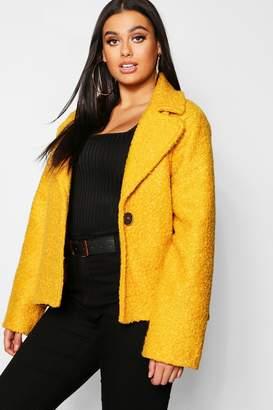 boohoo Plus Short Button Faux Fur Teddy Coat