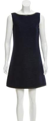 Prada Wool Leather-Trimmed Dress