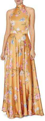 Laundry by Shelli Segal Floral Halter-Neck Gown