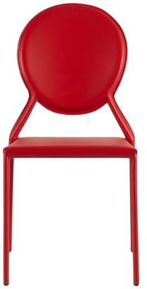 Euro Style Isabel Stacking Side Chair, Red Leather