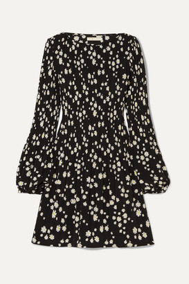 Maje Pleated Floral-print Crepe Mini Dress - Black