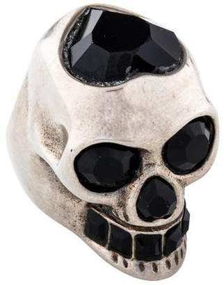 Alexander McQueen Crystal Heart Skull Ring