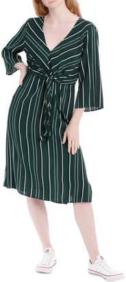 Miss Shop Tie Front Long Sleeve Dress