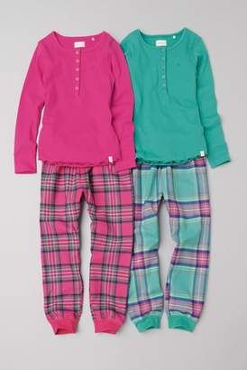 Next Girls Pink/Turquoise Check Woven Bottom Pyjamas Two Pack (3-16yrs)
