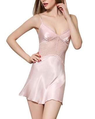 48ce044947a4 FEOYA Women's Babydoll Sleepwear Breathable Lace Nightgown Satin Adjustable  Lingerie Silk Mini Sleepwear V Neck Chemise