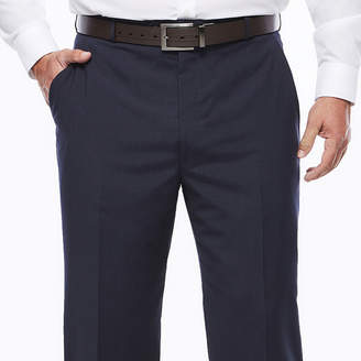 STAFFORD Stafford Travel Wool Blend Stretch Navy Pinstripe Flat-Front Dress Pants - Big & Tall