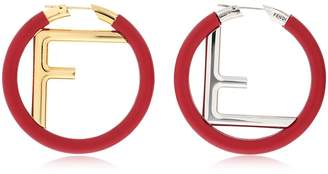 Fendi Logo Nappa Leather Hoop Earrings