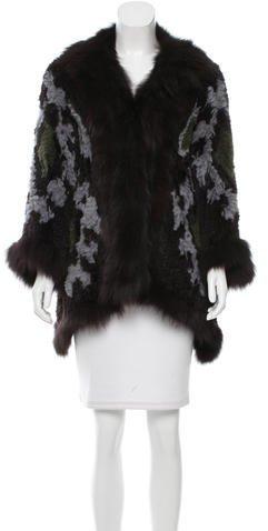 Elizabeth And JamesElizabeth and James Printed Rabbit Fur Jacket