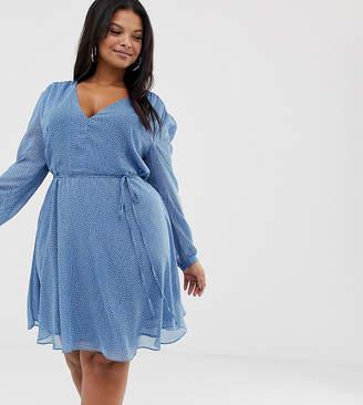 d879dec2276 Glamorous Curve tea dress with tie waist in spot print