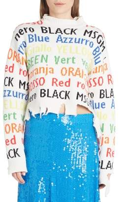 MSGM Color Words Distressed Sweater