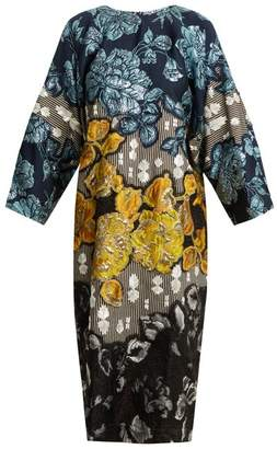 Biyan - Floral Brocade Embellished Dress - Womens - Blue Multi
