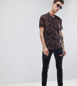 Jacamo TALL Short Sleeve Revere Collar Shirt In Paisley Print