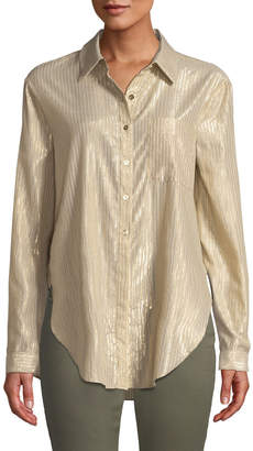 T Tahari Metallic Stripes Button-Down Blouse