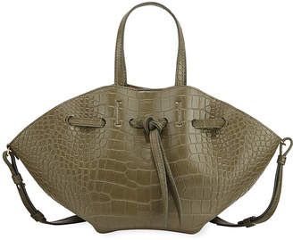 Nanushka Lynne Crocodile-Embossed Tote Bag, Olive