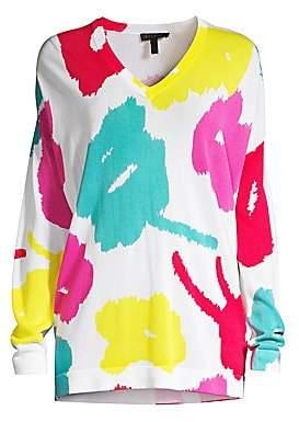 Escada Women's Sain Abstract Floral V-Neck Sweater