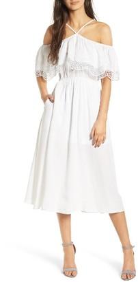 Women's Love, Fire Lace Trim Cold Shoulder Dress $59 thestylecure.com