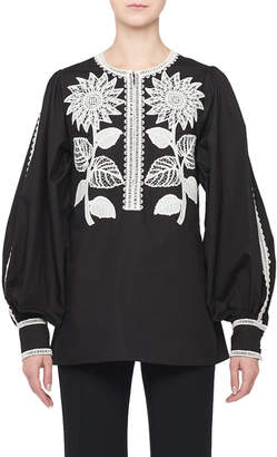 Andrew Gn Sunflower-Embroidered Cotton Peasant Blouse