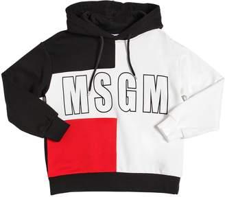 MSGM Color Block Cotton Sweatshirt Hoodie