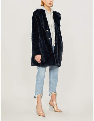 KENDALL + KYLIE KENDALL & KYLIE Jersey-panelled faux-fur hooded coat