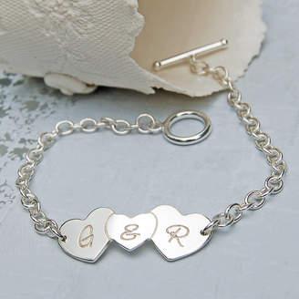 Love Hearts IndiviJewels Sterling Silver Personalised Bracelet