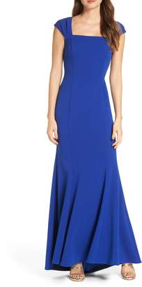 Eliza J Square Neck Scuba Crepe Evening Dress