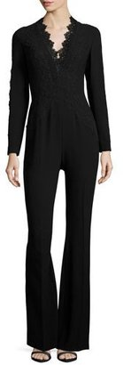 Elie Tahari Willow Lace-Trimmed Flare-Leg Jumpsuit, Black $548 thestylecure.com