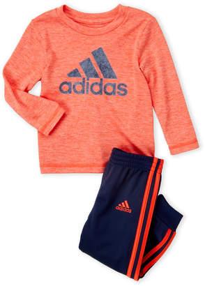 adidas Infant Boys) Two-Piece Long Sleeve Logo Tee & Joggers Set
