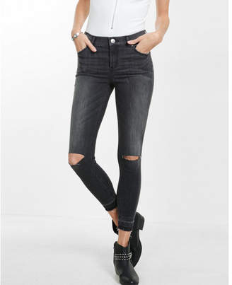 Express distressed high waisted released hem jean legging $79.90 thestylecure.com