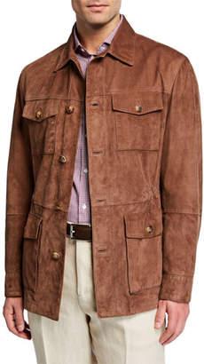 Brunello Cucinelli Men's Full-Button Suede Field Jacket