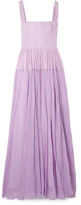 Lela Rose Gingham Poplin And Silk-chiffon Maxi Dress - Purple